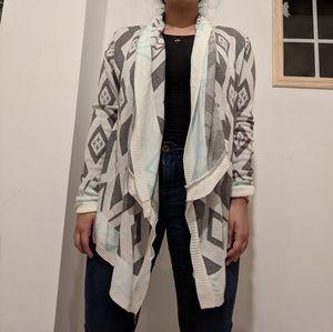 Charlotte Russe cross high low mint gray cardigan